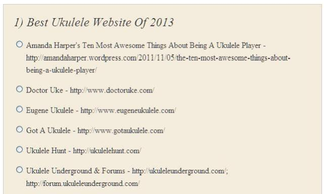 1) Best Ukulele Website Of 2013 - Poll