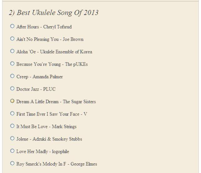 2) Best Ukulele Song Of 2013 - Poll