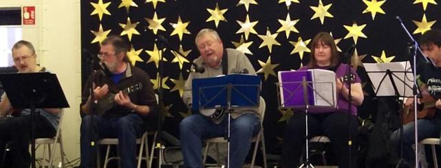 Brindishe Green Xmas Fair Nov 2014 02 - Andrew, Rufus, Chris, Jeanette & Simon